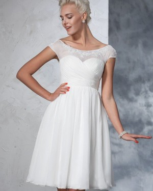 Ruched White Tulle Bateau Lace Applique Short Wedding Dress WD2024
