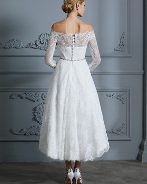 High Low Ivory Off the Shoulder Lace Wedding Dress with Long Sleeves WD2030