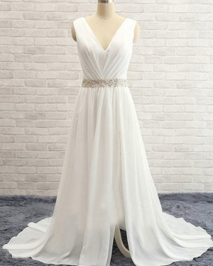 Ivory Simple V-neck Ruched Beading Chiffon Wedding Dress with Side Slit WD2031