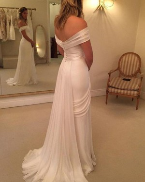 White Ruched Simple Off the Shoulder Wedding Dress with Side Slit WD2036