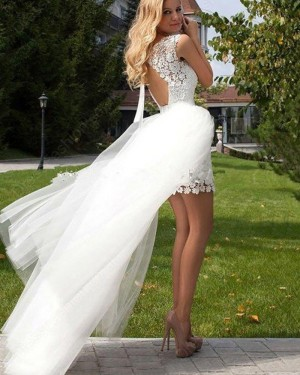 Short White Jewel Lace Wedding Dress with Detachable Skirt WD2042