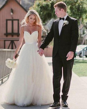 Simple White Tulle Spaghetti Straps Princess Wedding Dress WD2044