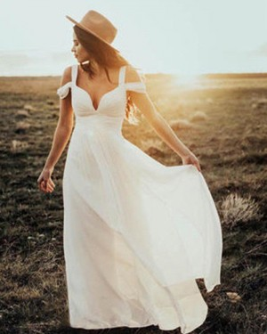Cold Shoulder Ivory Sheath Pleated Chiffon Beach Wedding Dress WD2048