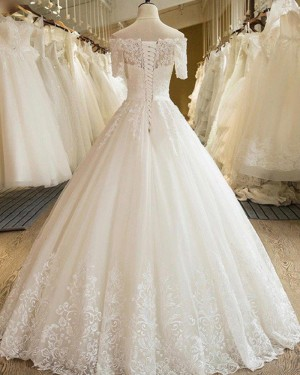 Lace Appliqued Pleated Off the Shoulder Ivory Wedding Gown with Short Sleeves WD2053