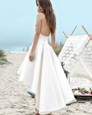 High Low White Satin Spaghetti Straps Beach Wedding Dress with Pockets WD2058