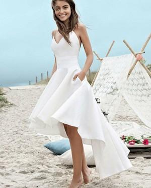 High Low White Satin Spaghetti Straps Beach Wedding Dress with Pockets WD2058