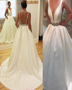Simple Deep V-neck White Wedding Gown with Belt WD2065
