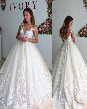 Appliqued Ivory Pleated Sheer Neck Lace Wedding Gown with Open Back WD2068