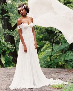 Simple Ruched Applique Chiffon Off the Shoulder Wedding Dress WD2074