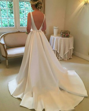 Simple White Pleated Satin Jewel Fall Wedding Dress with Cute Bowknot WD2081