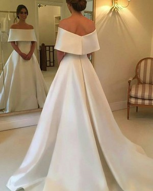 Simple Off the Shoulder A-line Satin Layered Neck Fall Wedding Dress WD2082