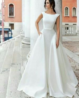 Simple A-line Satin Jewel White Wedding Dress with Pockets WD2087