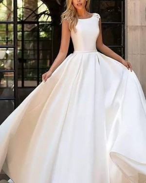 Simple Pleated Satin Fall Jewel White Wedding Dress with Appliques WD2091
