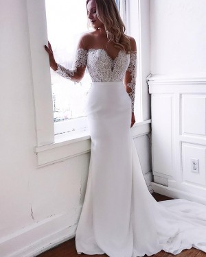 Sheer Neck Mermaid Chiffon Lace Applique Wedding Dress with Long Sleeves WD2105