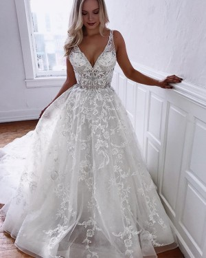 A-line Ivory V-neck Pleated Lace Wedding Dress with Chapel Train WD2106