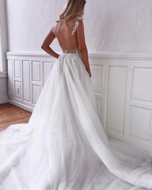 Elegant Lace Applique Tulle V-neck Wedding Dress with Pockets WD2107