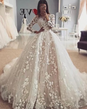 Elegant Jewel Ivory 3D Lace Flowers Long Sleeve Wedding Dress WD2110