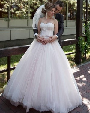 Light Pink Sweetheart Tulle Applique Pleated Wedding Gown WD2113