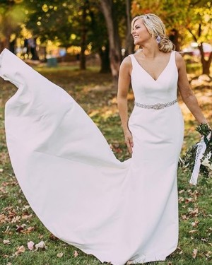 Simple Mermaid V-neck White Satin Wedding Dress WD2116