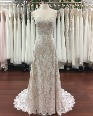Champagne Sheath Sweetheart Lace Wedding Dress with Court Train WD2119
