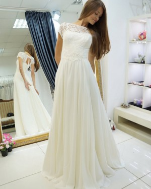 Ivory A-line Pleated Bateau Lace Bodice Wedding Dress with Keyhole Back WD2123
