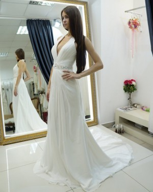 Sheath White Beach Halter Ruched Wedding Dress with Beading Belt WD2124