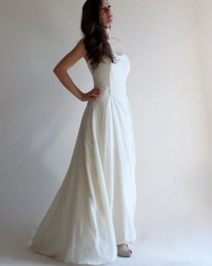Simple Beach Strapless Satin Ivory Wedding Dress with Lace Up WD2125