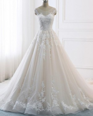 Lace Appliqued Champagne Scoop Pleated Wedding Dress WD2128