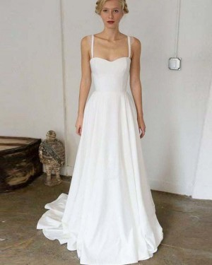 Simple Satin A-line Pleated Square White Beach Wedding Dress WD2129