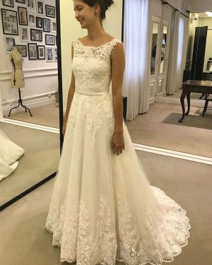 Elegant Jewel Pleated Lace Applique Ivory Wedding Dress WD2130