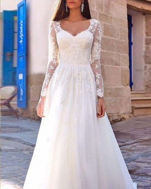 Scoop Lace Long Sleeve Appliqued Bodice White Wedding Dress WD2131