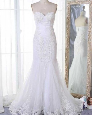 Lace Applique Sweetheart Mermaid White Wedding Dress WD2134