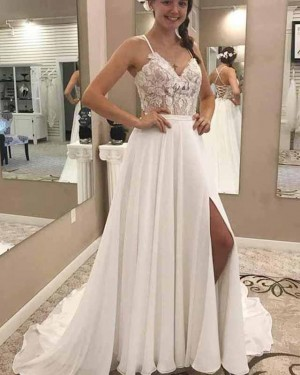 Lace Bodice White Chiffon Spaghetti Straps Wedding Dress with Side Slit WD2137
