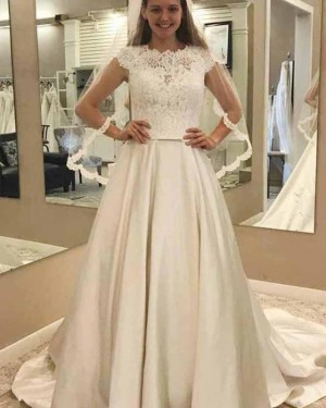 Ivory Satin Pleated High Neck Lace Bodice Fall Wedding Dress WD2139
