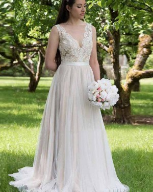 Lace Bodice Pleated V-neck Nude A-line Wedding Dress WD2140
