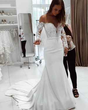Lace Bodice Mermaid Satin Sheer Neck White Wedding Dress with Long Sleeves WD2141
