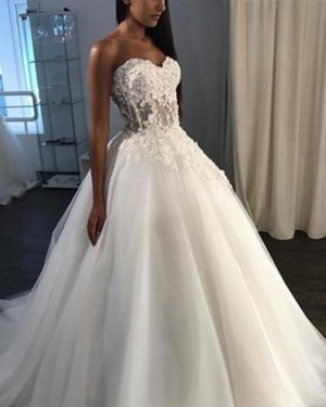 Sweetheart Tulle White Lace Bodice Ball Gown Wedding Dress WD2144