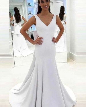 Simple Satin Mermaid V-neck White Wedding Dress with Bowknot WD2145
