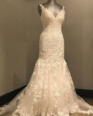 Elegant Lace White V-neck Mermaid Wedding Dress WD2148
