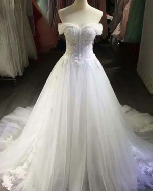 White Lace Applique Off the Shoulder Ball Gown Wedding Dress WD2149