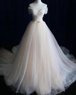 Simple Champagne Tulle Off the Shoulder Pleated Wedding Dress WD2151