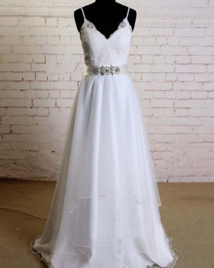 Lace Bodice Beading Spaghetti Straps A-line White Wedding Dress WD2153