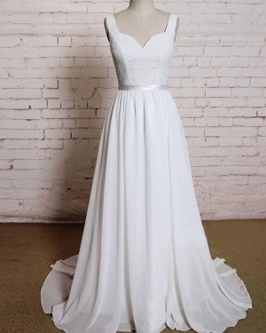 Simple Lace Bodice Tulle V-neck Ivory Wedding Dress WD2154