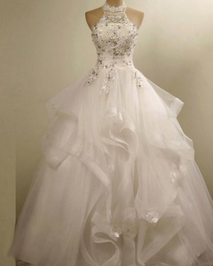 3D Flower Applique High Neck Ruffle Wedding Gown WD2155