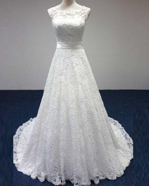 Strapless Vintage Lace Jewel Neck Ivory A-line Wedding Dress WD2158