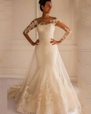 Long Sleeve Mermaid Bateau Lace Applique Wedding Dress WD2159