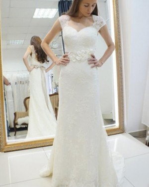 Ivory Sheath Queen Anne Lace Wedding Dress with 3D Flowers WD2160