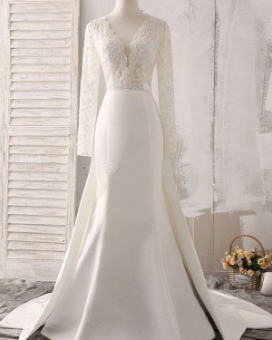 White Lace Bodice Satin Deep V-neck Fall Wedding Dress with Long Sleeves WD2161