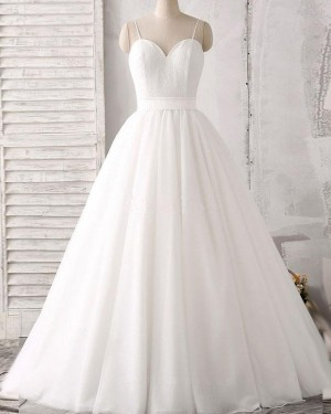 Lace Bodice White Spaghetti Straps Pleated Princess Wedding Dress WD2162
