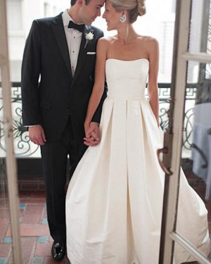 Strapless Pleated Ivory Satin Wedding Dress with Lace Up WD2166